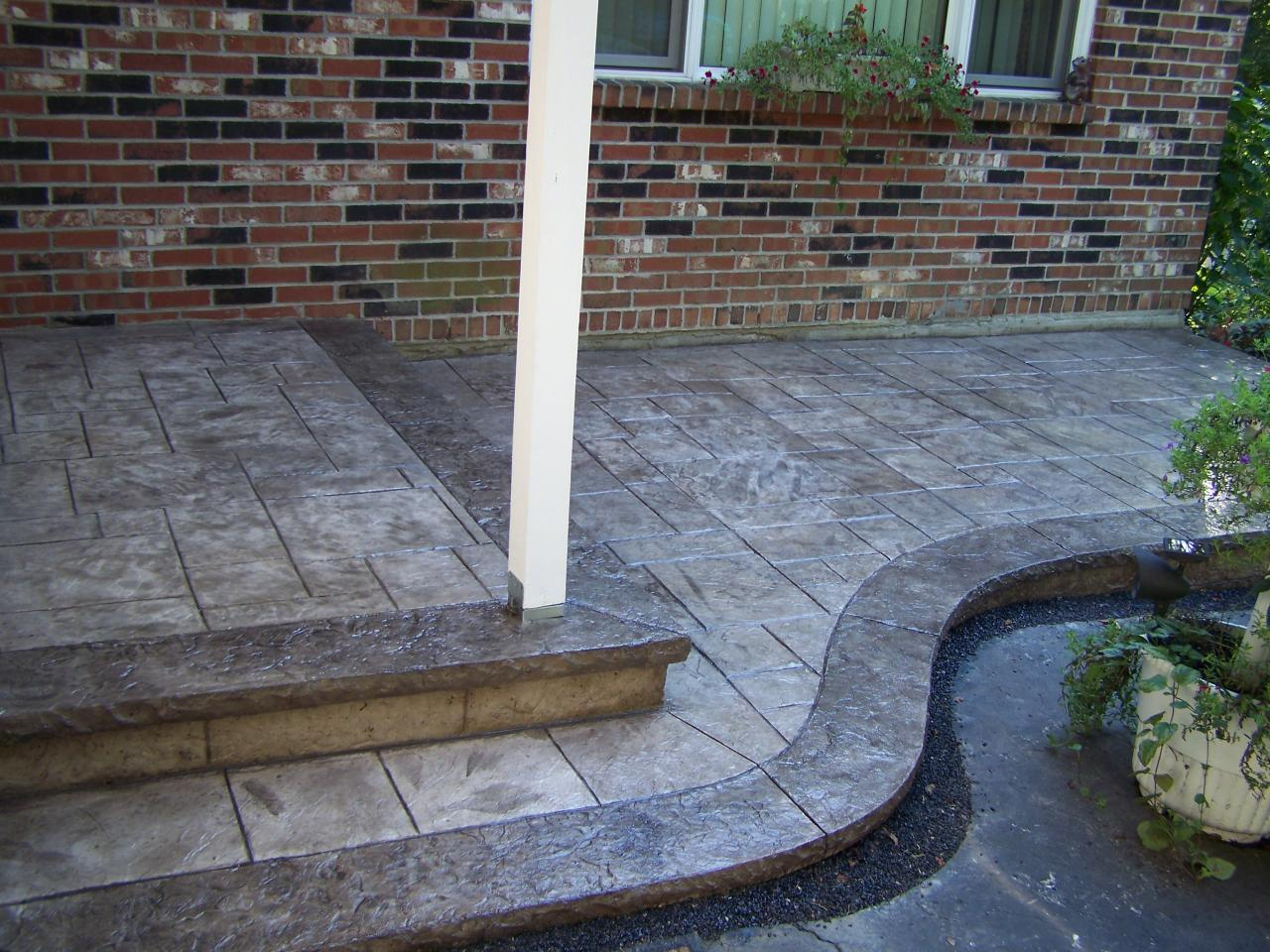 Stamped Concrete Patio With Stairs. Stamped Concrete Entryway · Porch Patio  With Stairs E